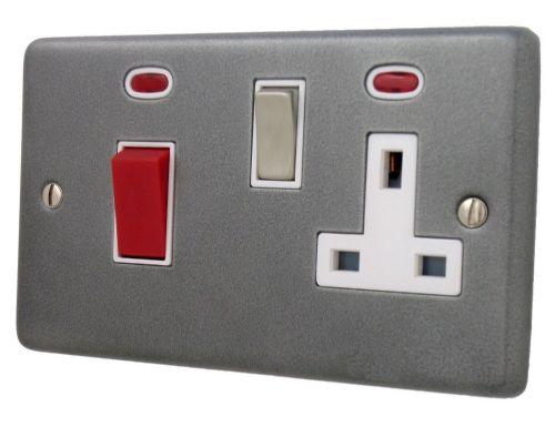 G&H CP229 Standard Plate Pewter 45 Amp DP Cooker Switch & 13A Switched Socket
